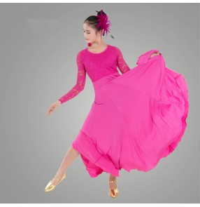 Black white fuchsia green yellow fuchsia colored women's ladies female long lace sleeves tops competition professional latin samba salsa cha cha dance dresses ballroom dresses