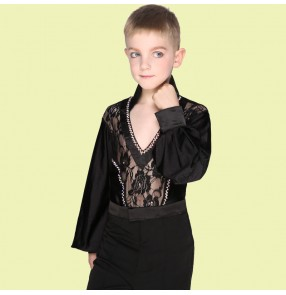 Black white lace patchwork summer spring rhinestones v nevk long sleeves  boys child children kids toddlers practice competition professional latin ballroom dance shirts tops