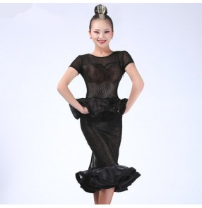 Black white lace Women's female ladies see through rose pattern back split mermaid ruffles hem short sleeves competition latin dance dresses samba salsa cha cha dresses