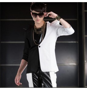 Black white patchwork long sleeves v neck men's male mans fashion stage performance jazz hip hop singer dj ds bra cos play show punk rock dancing costumes outfits blazers jackets coats