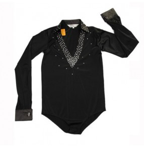 Black white red colored v neck rhinestones boys child children kids toddlers growth long sleeves latin ballroom dance tops shirts