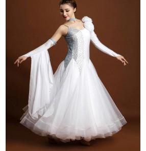 Black white rhinestone diamond one shoulder sleeves competition professional womens women's ladies full skirted standard female ballroom tango waltz dancing dresses