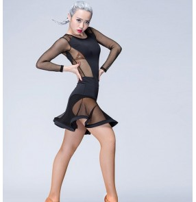 Black white see through waist and long sleeves women's ladies female competition performance professional leotards latin samba salsa cha cha dance dresses outfits costumes