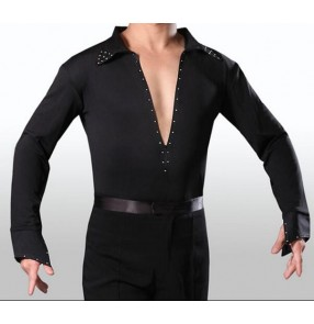 Black white v neck front with zipper stand collar long sleeves boys kids children men's male competition performance professional ballroom waltz tango flamenco dance leotard tops shirts for man