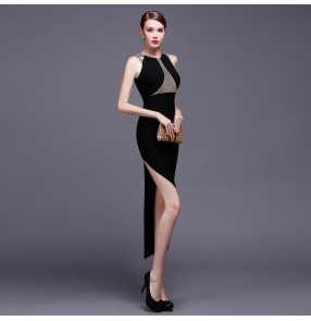 Black  white with silver sequins side split A line sleeveless chiffon irregular length women's ladies fashion long length evening dresses party wedding party gown vestdios