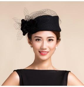 Black wine red purple Women's 100% Australian wool handmade vintage fascinators  veil wedding dress hat one size