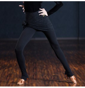 Black with lace hip scarf women's ladies fashion gymnastics performance competition legging tight pants trousers