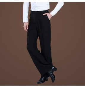 Black with striped on hip with loop in waist with pocket straight man men's male competition professional performance  ballroom tango jive latin waltz dance pants trousers