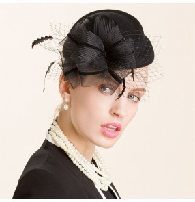 Black women's facinators feather pillbox hat wedding party fedoras 100% wool one size