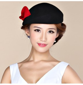 Black Wool Black Simplicity Women Lady Classic Fascinator Hair Pillbox Hat