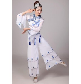 Blue and white chinese Cheap Discount Women Ladies Ancient Chinese National Costumes Traditional Chinese folk Dance costumes sets top and pants