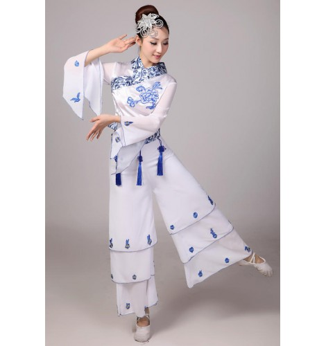 f837c67c5cb Blue and white chinese Cheap Discount Women Ladies Ancient Chinese National  Costumes Traditional Chinese folk Dance costumes sets top and pants