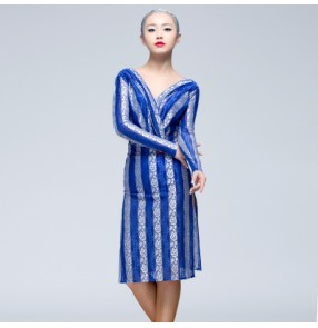 Blue black striped women's ladies female competition professional long sleeves competition latin samba salsa dresses vestios