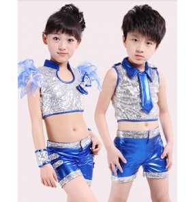 Blue Girls boys kids children child paillette sequined pu leather modern dance jazz dance costumes dancewear