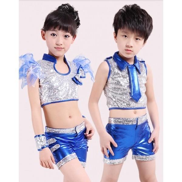 05e76ff1e389 Blue Girls boys kids children child paillette sequined pu leather modern  dance jazz dance costumes dancewear