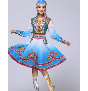 Blue gradient colored long sleeves women's ladies  international minority Mongolian performance cos play party dancing costumes dresses robes outfits