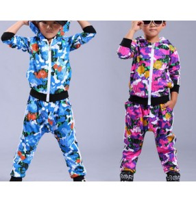 Blue purple violet  rose printed camouflage pattern long sleeves hoodies pants boys kids children girls street hip hop school play dancing outfits costumes