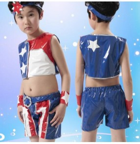 Blue red white patchwork pu leather girls kids child children toddler kindergarten cheer leading modern dance stage performance jazz ds singer pole dance hip hop dance costumes sets