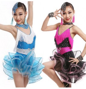 Blue turquoise fuchsia yellow black patchwork girls kids child children toddlers growth competition rhinestones backless latin salsa cha cha rumba dance dresses