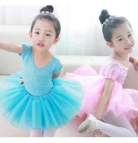Blue turquoise pink yellow colored girls kids child toddlers baby professional competition gymnastics ballet tutu skirt ballet dance costumes dress set