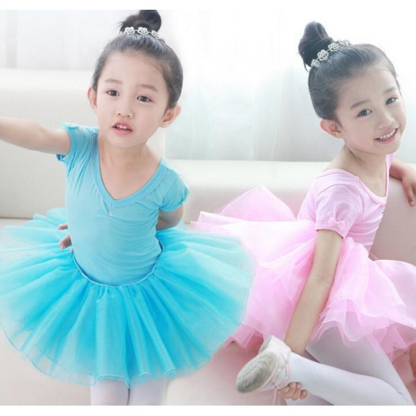 Blue Turquoise Pink Yellow Colored Girls Kids Child Toddlers Baby Professional Competition Gymnastics Ballet Tutu Skirt Dance Costumes Dress Set
