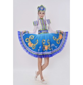 Blue Women's girls Mongolian costumes dance clothes Chinese minority clothing apparel Mongolia clothes dance costume dress stage
