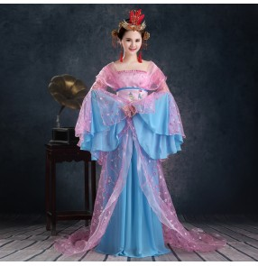 Blue Women's ladies traditional Chinese folk dance costumes classical costumes cos play stage performance princess fairy dresses
