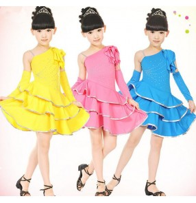 Blue yellow fuchsia black Girls kids children child baby one shoulder rhinestones exercises competition latin dance dresses with gloves