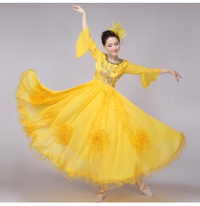 Blue yellow red Women's big full skirted long length flower Chinese folk dance traditional opening dance costumes cosplay dresses stage performance clothes