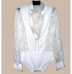 Boy's kids lace diamonded cuff and collar v neck latin ballroom dance shirt dance tops