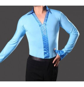 Boys adult men's kids children Turquoise  blue fuchsia hot pink v neck rhinestones long sleeves down collar international competition performance latin ballroom tango waltz flamenco  dancing leotard tops shirts