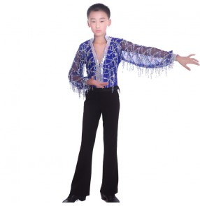 Boys children sequined tassel transparent shirt and pants latin dance set ballroom tango dance costume