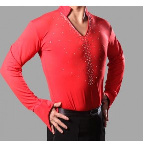 Boys kids children men's Royal blue red hot pink fuchsia v neck stand collar long sleeves rhinestones competition performance show play ballroom tango waltz latin salsa flamenco dance shirts tops for mans mens male