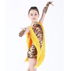 Brown Leopard tiger white zebra colored girls kids  child children toddlers gymnastics competition professional rhinestones tassels patchwork latin cha cha salsa samba leotard dance dresses