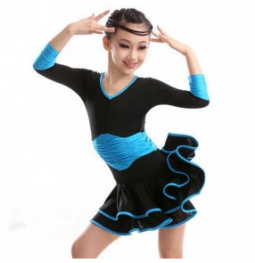 Child Long-sleeve One-piece Dress Ballet Gym Suit Ballet Dance Latin Dance dress Kids Dance Wear Leotard ballroom waltz flamenco