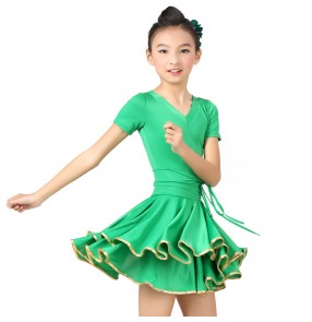 Child Professional Latin Dance Dress Kid Sparkling Competition Show Costume Girls Latin Dress fuchsia green