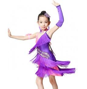 Children girls kids child patchwork fringe diamond latin dance dresses backless salsa chacha dance dress