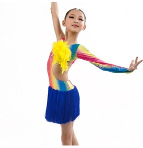 Children girls rainbow royal blue patchwork tassel latin dance dress 110-160cm dance costume