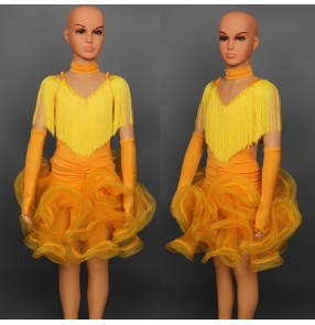 Children Kids Feather Fringe Stage Performance Competition Ballroom Dance Costume Latin Dance Dress For Girls flamenco dress