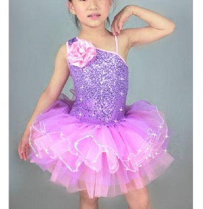 Children kids girls leotard tutu skirt ballet dance dress violet