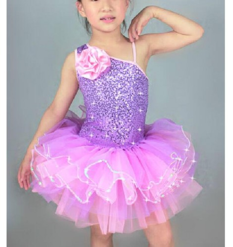 c81adfd152 Children kids girls leotard tutu skirt ballet dance dress violet