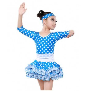 Children kids polka dot latin dance dress