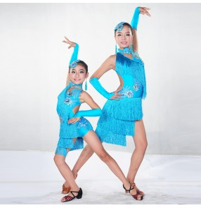 Children Kids Sequin Feather Fringe Stage Ballroom Dance Costume Latin Dance Dress For Girls waltz dress