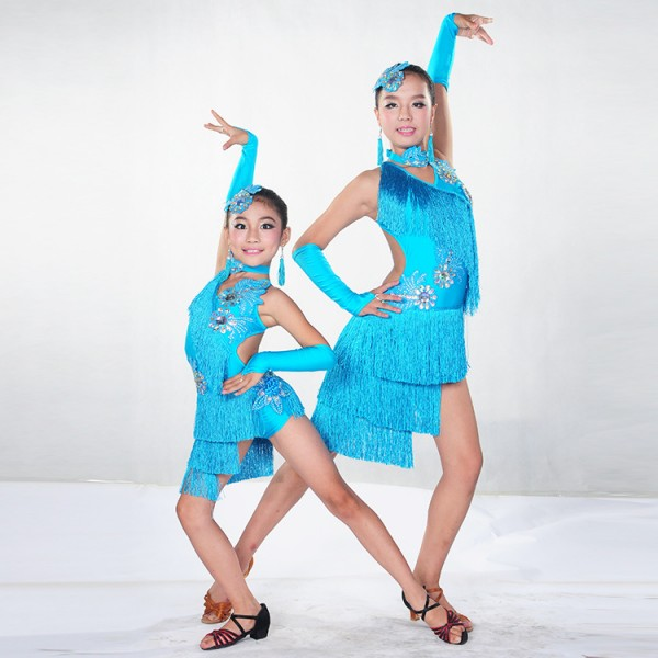 b65d98a15 Children Kids Sequin Feather Fringe Stage Ballroom Dance Costume ...