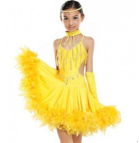 Children Kids Sequin Feather Fringe Stage Performance Competition Ballroom Dance dress professional Latin Dance Dress For Girls