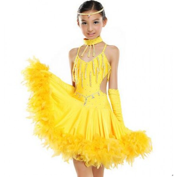 e48072b29a2f Children Kids Sequin Feather Fringe Stage Performance Competition ...