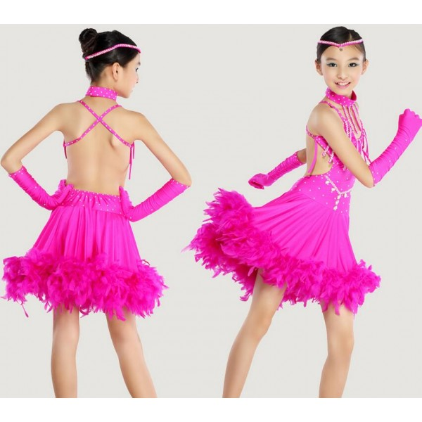 Children Kids Sequin Feather Fringe Stage Performance Competition ...