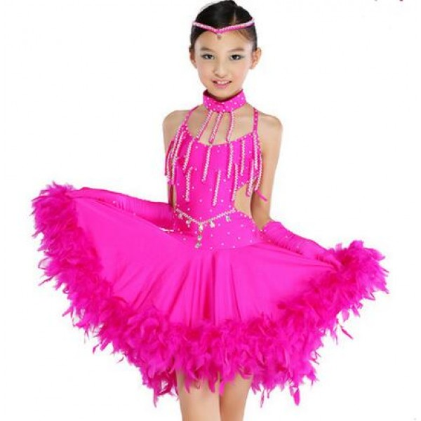 b2a91a3c8868 Children Kids Sequin Feather Fringe Stage Performance Competition Ballroom Dance  dress professional Latin Dance Dress For Girls