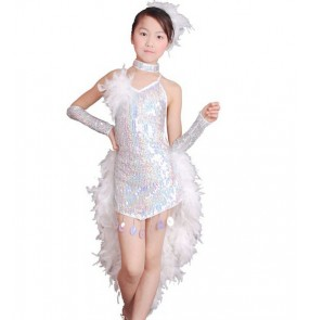 Children Kids white Sequin Feather Fringe Stage Performance Ballroom Dance dressLatin Dance Dress