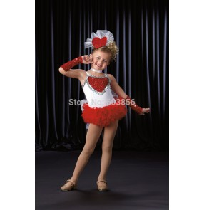 Children performance wear modern ballet tutu female child jazz dancing costume dress paillette